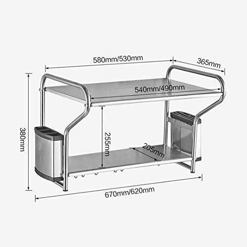 Multifunctionele storage storage rack Kitchen Stand Bracket magnetron wandmontage Plank met 8 verwisselbare haken Praktische Mes Chopsticks Cilinder roestvrij staal, 53cm keuken rekken (Size : 58cm)