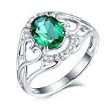 Daesar Anillo de Mujer de Oro Blanco 18 K,Corazón Hueco con Oval Esmeralda Verde 1.16ct Diamante 0.16ct,Plata Verde Talla 9,5