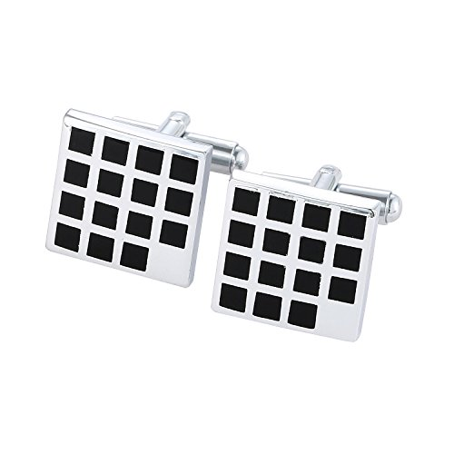 DonDon® Herren Manschettenknöpfe Vierecke Silber-schwarz im Samtbeutel