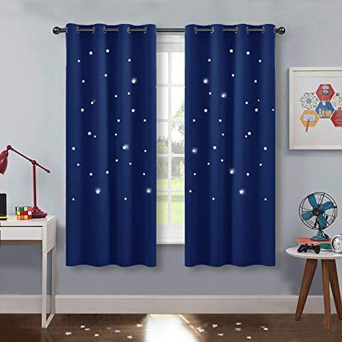 PONY DANCE Vorhang Kinderzimmer Junge - 2er Set H 158 x B 132 cm Gardinen Kinderzimmer mit Hohlen Sternen Verdunkelungsvorhang Sterne Ösenschal, Blau