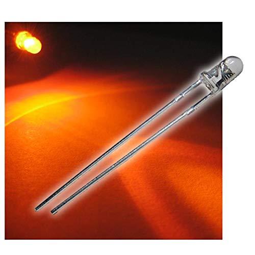 world-trading-net 50 LEDs 3mm wasserklar orange Typ WTN-3-5000o, Leuchtdiode, bedrahtet, Diode Leuchtend, als Bauteil
