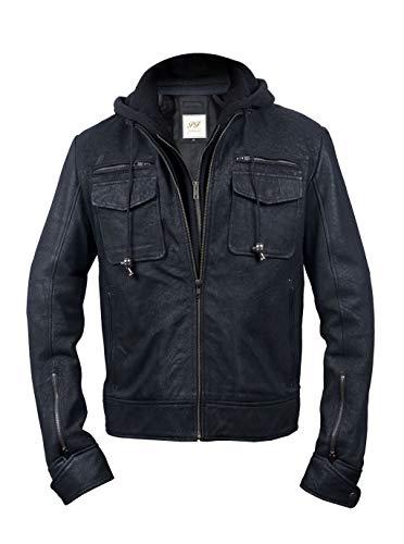 Pelletteria Factory Chaqueta de piel sintética con capucha negra envejecida con capucha desmontable