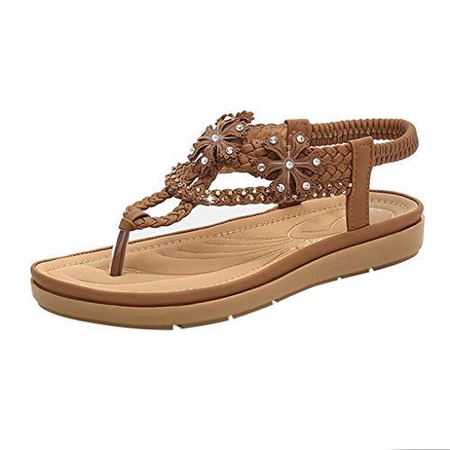 TUDUZ Sandalen Damen Sommer Plateau Frauen Thick Bottomed Sandale Schuhe Schnalle Knöchelriemen Sandalen Sommer Strand Schuhe Bootsschuhe(Braun,40EU)