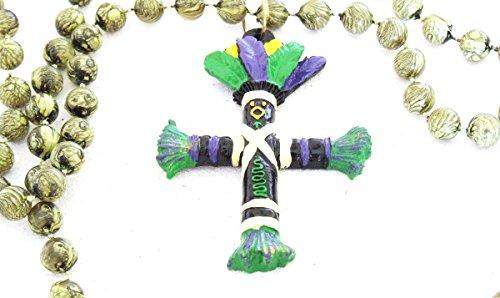 Voodoo Doll Green Cross Beads Good Luck Power Black Money Wealth Prosper Revenge