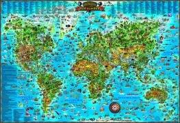 Weltkarte für Kinder: Dino's illustrierte Karten