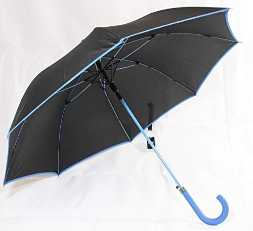 Susino Regenschirm in schwarz mit blauem Rand, sowie Griff und Gestänge farblich abgesetzt (7017)
