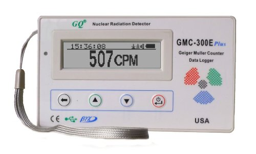 GQ GMC-300E-Plus Digital Geiger Counter Nulcear Radiation Detector Monitor Meter dosimeter Beta Gamma X ray data logger recorder realtime monitoring for personal home professional general purpose with UK wall charger