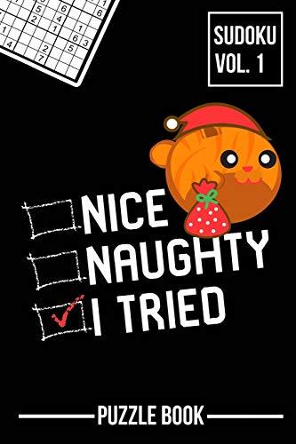 Nice Naughty I Tried Merry Christmas Sudoku Orange Tabby Cat Santa Puzzle Book Volume 1: 200 Challenging Puzzles