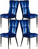 Mesa lateral de la sala de estar Sillas de comedor modernas Conjunto de 4 tumbonas tapizadas de terciopelo con patas de metal for cocina comedor dormitorio sala de estar (color: zafiro azul) Fácil de
