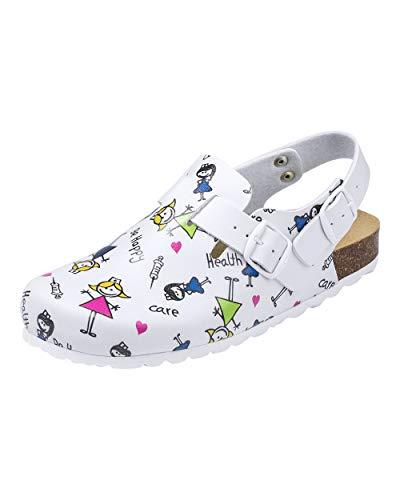 CLINIC DRESS Clog - Clogs Damen bunt weiß Motiv. Schuhe für Krankenschwestern, Ärzte oder Pflegekräfte bunt, Health Care 38