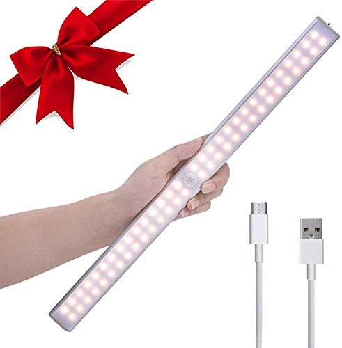 LED Schrankbeleuchtung mit Bewegungsmelder,LACYIE 60 LEDs USB Wiederaufladbar LED Unterbauleuchte Nachtlicht mit Magnetstreifen,3 Modi e Auto/ON/OFF für Küche Schrank Flur(3000K Warmweiß 1 Stück)