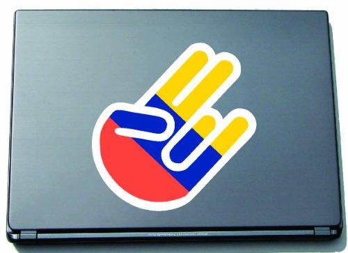 The Shocker Hand sticker decal sticker laptop sticker laptop skin 210x144 mm zwarte omtrek met vlag Ecuador-Ekuador