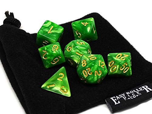 Celtic Swirl Dice Set 7 Piece Set with Free Dice Bag - Hand Checked Quality