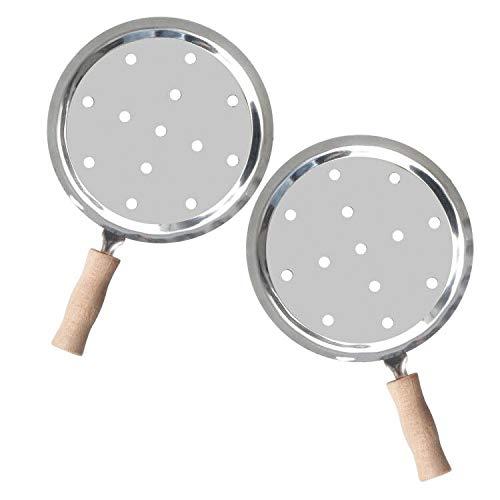 REANICE Hookah Wasserpfeife Metallsiebe Kohlesiebe mit Holz Griff for Shisha (Silber)