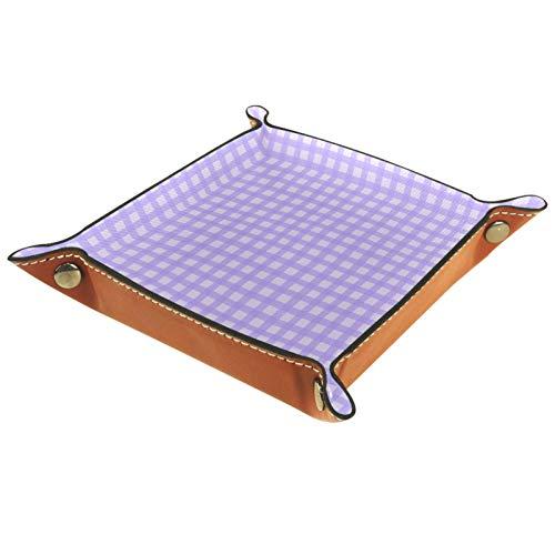 Eslifey Organizador de escritorio de piel de microfibra de color lila con patrón a cuadros, práctica caja de almacenamiento para carteras, llaves y equipo de oficina, 16 x 16 cm