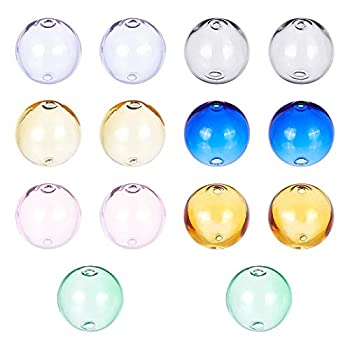 PH PandaHall 14pcs 7 Colors Double Hole Wish Glass Ball Bottle Glass Globe Ball Hollow Ball 16mm Blown Glass Beads for DIY Pendant Charms Stud Earring Making