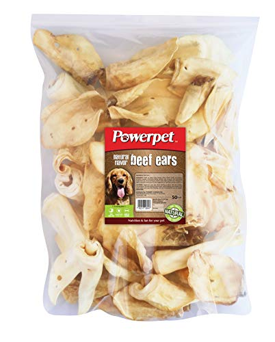 Powerpet 100% Natural Cow Ears for Dogs (50 Pack) (Natural)