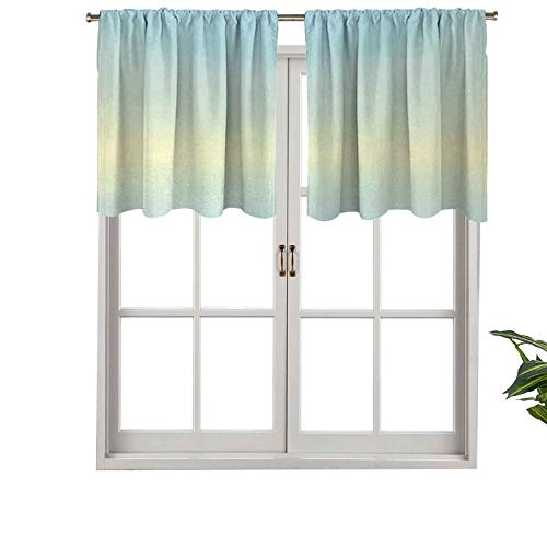 Hiiiman Rod Pocket Curtain Valance Blackout Defocused Abstract Design in Center Blurred Color Sky Blue, Set of 2, 42'x24' Window Treatment for Living Room