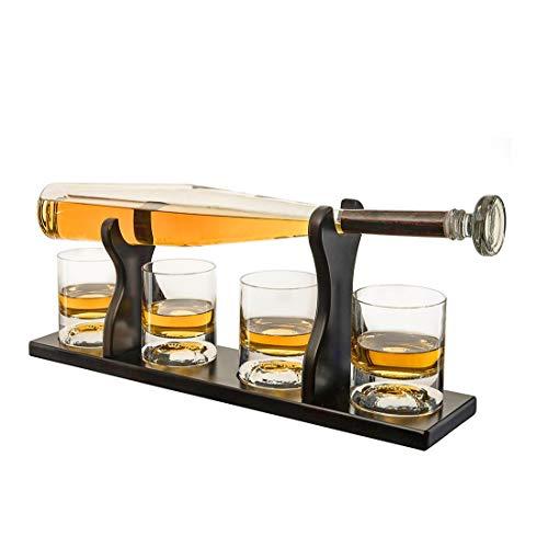 HONEY WYJ Decanter per Whisky da Baseball, Set di Decanter per Liquori con Un Bat Decanter E 4 Bicchieri da Whisky da Baseball per Abbinamenti Scotch, Bourbon o Wine