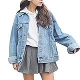 Beskie Veste en Jean surdimensionnée pour Les Femmes Grils Jacket Boyfriend Jeans à Manches Longues