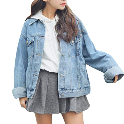 Beskie Giacca di jeans oversize per le donne Grils manica lunga fidanzato Jean Giacche cappotto allentato Blu Medium