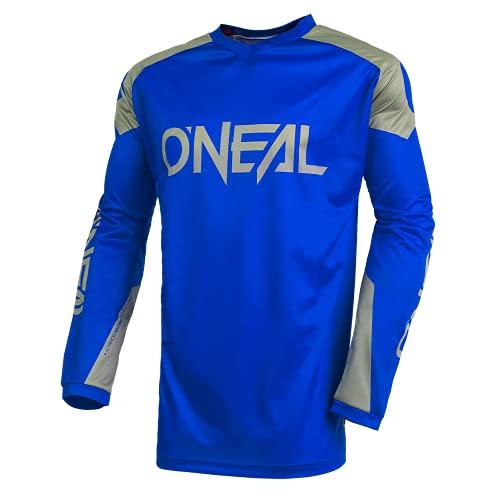 O'NEAL | Jersey | Enduro Motocross | Atmungsaktives Material, Maximale Bewegungsfreiheit, Verlängerter Rücken | Jersey Matrix Ridewear | Erwachsene | Blau Grau | Größe L