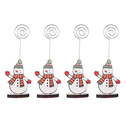 NUOBESTY 4 Pezzi Segnaposto Natale Alce Pupazzo di Neve Babbo Natale Memo Clip Titolare Portafoto Supporto Numero Posto Memo Holder Decorazione Natalizia