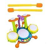 Facynde Kids Drum Set, Baby Musical Keyboard Piano Drum Set con 2 Baquetas Y Micrófono Juguetes Musicales Regalo para Bebés Niños Pequeños Niñas 1-2 Años Cumpleaños