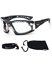 Bolle SAFETY ラッシュ プラス 4点セット(ゴーグル本体/ガスケットキット/布ポーチ/ELオリジナルメガネクロス) サバゲー グラス シューティング 保護 メガネ (フレーム:ブラック/ウォルフグレー, レンズ:クリア)