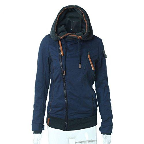 ELEAMO Womens Hoodies Rits Casual Slim lange mouw Blouse trui met zakken Hooded Sweatshirt Jas Topjes Blauw