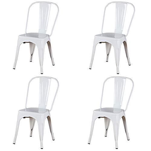 WV LeisureMaster, Set di 4 sedie da pranzo in metallo impilabili, in stile industriale vintage, adatte per interni ed esterni, per casa, ufficio, cucina, giardino, preassemblate