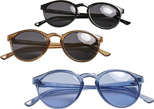 Urban Classics Sunglasses Cypress 3-Pack Gafas de sol, negro, marrón y azul, Talla única (Pack de 3) Unisex adulto