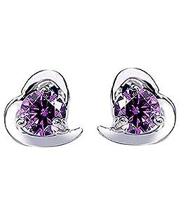 aloiness Zircon Cubique Boucles Cristal violet en Forme de Coeur Cadeau Parfait