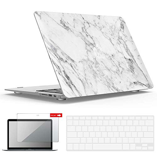 IBENZER MacBook Air 11 Inch Case Model A1370 A1465, Soft Touch Plastic Hard Shell Case Bundle with Keyboard Cover & Screen Protector for Apple Laptop Mac Air 11, White Marble, A11WHMB+2