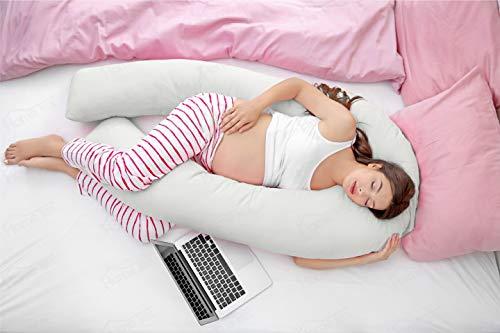 Hometex - Almohada de apoyo para embarazo, cómoda, en forma de U, de 2,7 m, con funda