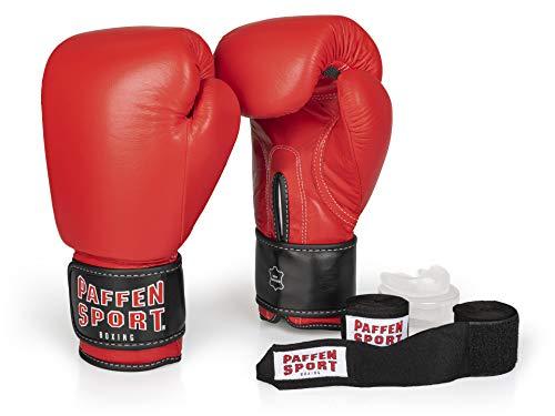 Paffen Sport «Advanced» Box-Bundle, «KIBO Fight» Boxhandschuhe, rot, 16UZ; «Allround» Bandage schwarz, 3,5 m; «Allround» Zahnschutz, transparent, ohne Mint