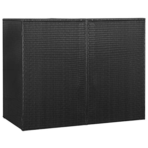 Unfade Memory Double Wheelie Bin Shed Waste Container Enclosure Patio Garden Storage Sheds 60.2'x30.7'x47.2' Poly Rattan (Black)