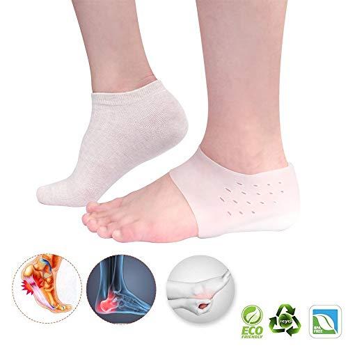 MQSS Onzichtbare inlegzolen met verhoogde hoogte, siliconen gel sokken hiel mouwen hielspoor inlegzolen pad hielkussen inlegzool voor pijnverlichting van de voeten.