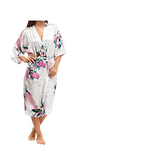 Women's Robes Peacock and Blossoms Kimono Satin Nightwear Long Style UK...