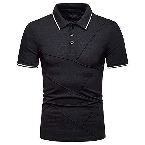 Polo Shirt Hombre Verano Moda Slim Fit Hombre Deportiva Camisa Empalme Manga Corta Correr Shirt Botón Placket...