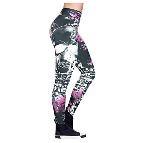 Yowablo Leggings Damen Kostüm Art- und Weiseschädel gedruckte dünne dünne Yoga-Gamaschen-Hosen der hohen Taille (XL,2Lila)