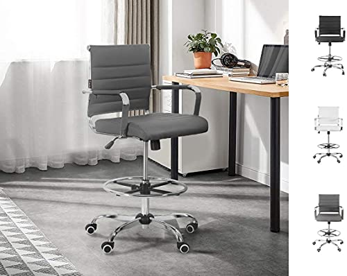 Drafting Chair Stool Office Ergonomic Footrest Leather – Tall With Arms...