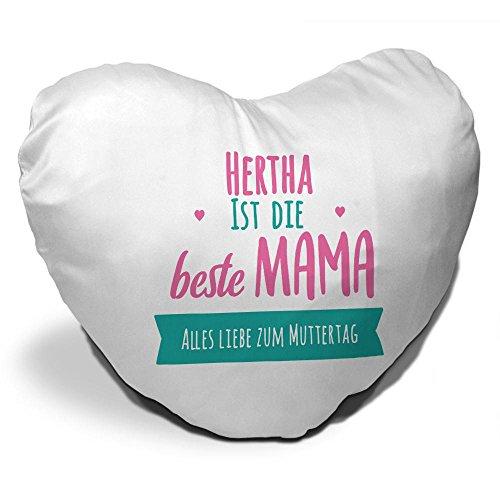 Herz-Kissen mit Namen Hertha und schönem Motiv mit Spruch - Hertha ist die beste Mama - | Alles Liebe zum Muttertag