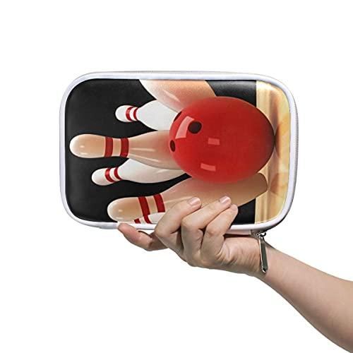 Federmäppchen mit Bowlingkugel-Motiv, Reißverschluss, großes Fassungsvermögen, für Make-up und Pinsel