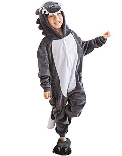 Kigurumi Pijama Animal Entero Unisex para Niños con Capucha Cosplay Pyjamas Lobo Gris Ropa de Dormir Traje de Disfraz para Festival de Carnaval Halloween Navidad