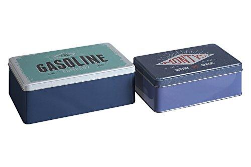 Premier Housewares Hot Rod de Stockage rectangulaire, Lot de 2, Étain, Multi/colorées, 13 x 20 x 7 cm