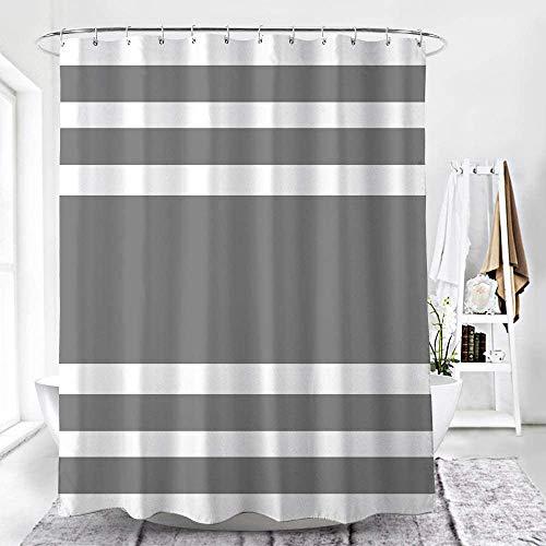WELTRXE Duschvorhang aus Polyester, wasserdichte Duschvorhänge mit 12 Duschvorhangringen, Grauer waschbarer Badewannenvorhang mit verstärktem Saum in 180 x 180 cm