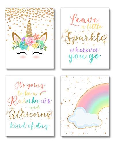 Brooke & Vine Unicorn Rainbow Girls Room Wall Decor Art Prints - (UNFRAMED 8 x 10) - Inspirational Kids Children's Tween Posters for Home, Birthday Party, Bedroom, Bathroom, Playroom, Desk (Unicorn Rainbow)