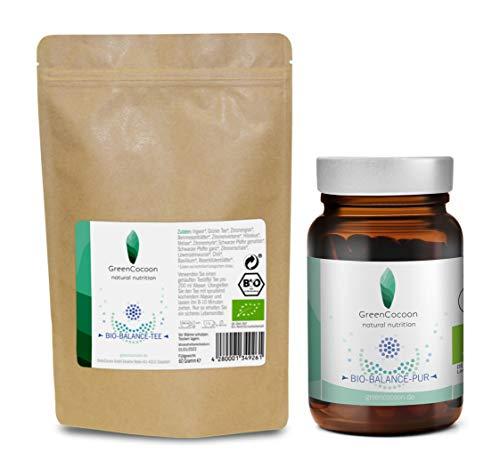 GreenCocoon BIO BALANCE PUR Bundle Kapseln + TEE – mit Spirulina Pulver, Chlorella Pulver, Mariendistel und Koriander - Bio-Zertifiziert (Glas 30 Kapseln, Tee 60 Gramm))
