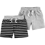 Carter's Baby Boys' 2-Pack Shorts (3 Months, Heather/Black Stripes)